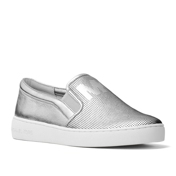 Authentic Mk Silver Leather Keaton Slip
